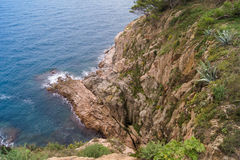 The edge of the rocky shore. Steeply descending Stock Photo