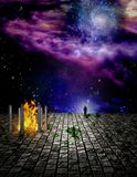 Edge of space. Surreal painting. Temple of fire on stone field. Man stands at the edge. Some elements image credit NASA Stock Photography