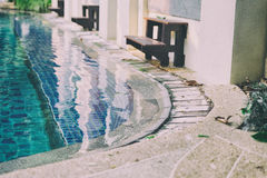 Edge of swimming pool in hotel resort Stock Images