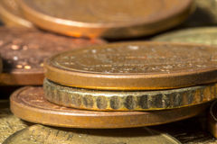 Edge view of five and ten cent euro coins Royalty Free Stock Image