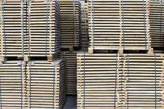 Edged board on pallets Royalty Free Stock Photo