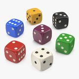 6 Edged Dices Group on white. 3D illustration. 6 Edged Dices Group on white background. 3D illustration Stock Photo