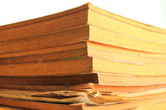Edged of stack old books in isolated Royalty Free Stock Image
