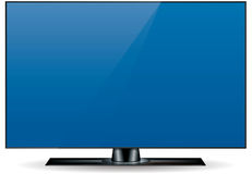 Edgeless HD Television Set. Edgeless, ultra thin, high definition (HD) television set in black Royalty Free Stock Photos