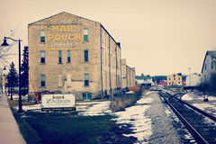 Edgerton, Wisconsin. The historical town of Edgerton, Wisconsin with the railroad and old Tobacco buildings. The Tobacco buildings in this town have all been royalty free stock image