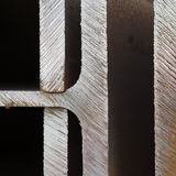 Edges of cut steel. Unpolished marks or rough edges of cut steel stock photography