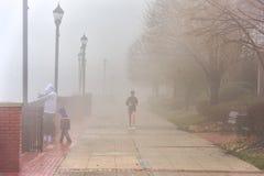 EDGEWATER, NEW JERSEY - JANUARI 11, 2014: Vrouw die in Misty January Morning lopen Royalty-vrije Stock Fotografie