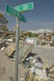Edgewater St. sign on street where Hurricane Ivan in Pensacola Florida hit Royalty Free Stock Image