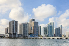 Edgewater Waterfront. A view across Biscayne Bay to the Venetian Causeway and beyond to the Edgewater waterfront in Miami, Florida Stock Images