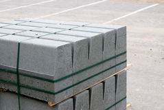 Edging stone. Gray edging stone pile, prior to placement Stock Photography