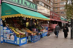 Edgware Road in London. Supermarket and restaurants in known for Middle Eastern communities Edgware Road in London Stock Photos