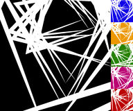 Edgy, angular background set in 6 colors. Random intersecting edgy lines - Royalty free vector illustration Stock Photo