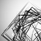 Edgy angular monochrome geometric illustration with intersecting. Random squares - Royalty free vector illustration Stock Photo