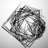 Edgy angular monochrome geometric illustration with intersecting. Random squares - Royalty free vector illustration vector illustration