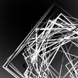 Edgy angular monochrome geometric illustration with intersecting. Random squares - Royalty free vector illustration Royalty Free Stock Image