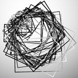 Edgy angular monochrome geometric illustration with intersecting. Random squares - Royalty free vector illustration Stock Image