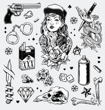 Edgy Black And White Tattoo Flash Set Royalty Free Stock Photography