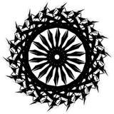 Edgy monochrome circular element. Black and white angular motif, Stock Image