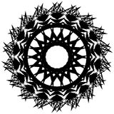 Edgy monochrome circular element. Black and white angular motif, Stock Photos
