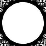Edgy monochrome circular element. Black and white angular motif, Royalty Free Stock Photo