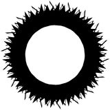 Edgy monochrome circular element. Black and white angular motif, Stock Photography