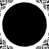 Edgy monochrome circular element. Black and white angular motif, Stock Photo