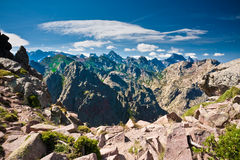 Edgy peaks of Corsican mountains. On GR20 in summer Royalty Free Stock Images