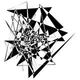 Edgy rough intersecting monochrome shape isolated on white. Abst Stock Image