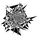 Edgy rough intersecting monochrome shape isolated on white. Abst Stock Photos