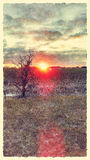 Edgy Watercolor Smudge Sunrise Painting Royalty Free Stock Image
