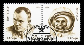 Edição comum Y Gagarin, 30o aniversário do primeiro homem no espaço s Imagens de Stock