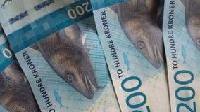 Edição 2017 nova da moeda do papel moeda da coroa do norueguês 200 Foto de Stock Royalty Free