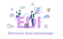 EDI, Electronic Data Interchange. Concept table with keywords, letters and icons. Colored flat vector illustration on. EDI, Electronic Data Interchange. Concept stock illustration