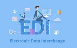 EDI, Electronic Data Interchange. Concept table with keywords, letters and icons. Colored flat vector illustration on. EDI, Electronic Data Interchange. Concept royalty free illustration