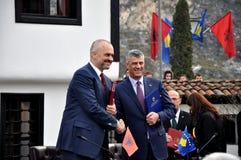Edi Rama и Hashim Thaqi перед лигой Prizren Стоковые Фото