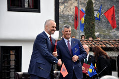 Edi Rama and Hashim Thaqi in front of the League of Prizren Stock Photos