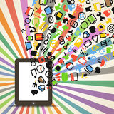 Edia icons falling down to the computer Royalty Free Stock Photography