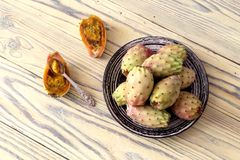 Cactus fruits opuntia on a plate Royalty Free Stock Image