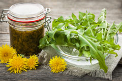 Edible dandelions and dandelion jam. Foraged edible dandelions flowers and greens with jar of dandelion preserve Stock Photo