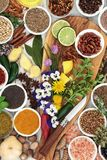 Edible Flowers and Herb and Spice Seasoning Royalty Free Stock Photos