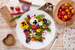 Free Edible Flowers Salad In A Plate Stock Images - 89329514