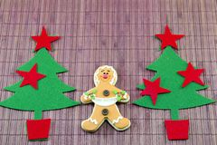 Edible gingerbread and a two  christmas trees Stock Image