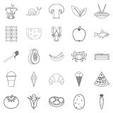 Edible icons set, outline style. Edible icons set. Outline set of 25 edible vector icons for web isolated on white background Stock Image