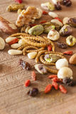Edible insects and nuts Royalty Free Stock Photos