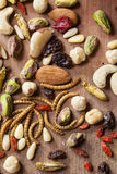 Edible insects and nuts Royalty Free Stock Photography