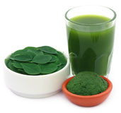Edible moringa leaves with extract and ground paste Stock Photo