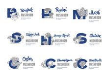 Edible Mushroom Logos Set Stock Photo