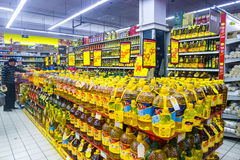 Edible oil  in supermarket Royalty Free Stock Image