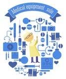 Мedical equipment sale set with syringe doctor Royalty Free Stock Image