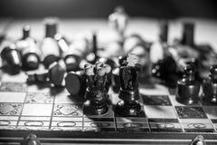 Edición blanco y negro del ajedrez Fotografía de archivo